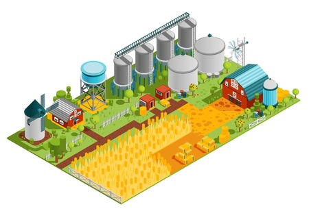 Farm rural buildings isometric composition with houses reservoirs mill and plantation field of wheat vector illustration