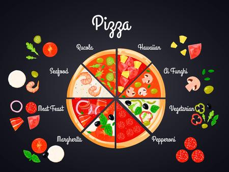 다른 재료 조각으로 만들어진 분할 피자의 평면 이미지로 일러스트 피자 만들기 개념 구성을 만들기 벡터 일러스트 레이션
