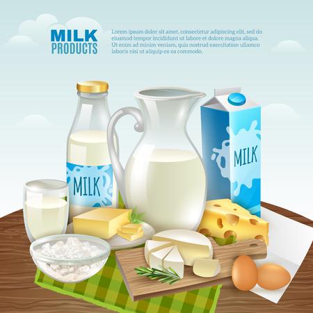 Prodotti lattiero-caseari cartoon sfondo con sana colazione simboli illustrazione vettoriale