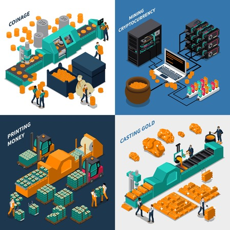 manufacturing equipment: Industrial isometric concept with manufacturing of different types of money mechanical equipment and workers vector illustration