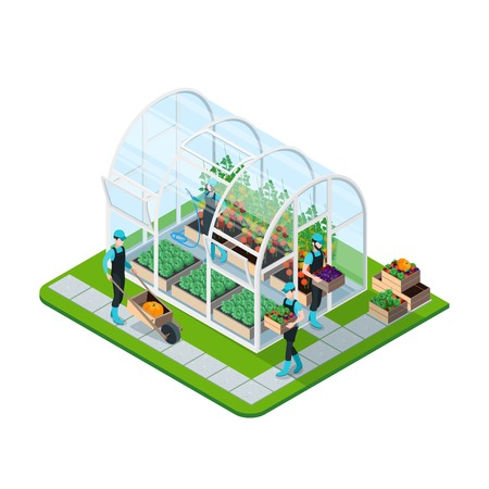 Glass greenhouse isometric template with working people irrigation and watering isolated vector illustration