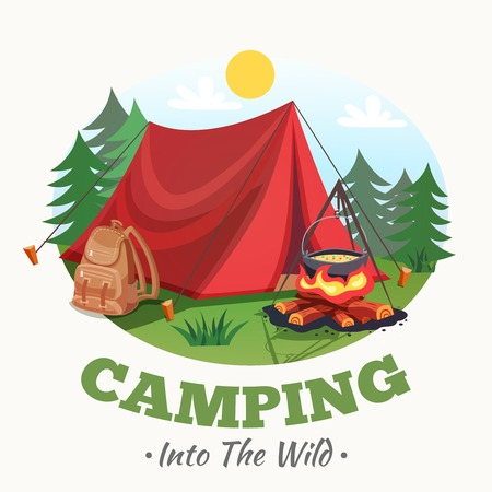 camping: Camping illustration with summer forest cartoon style round composition with tent campfire backpack images and text vector illustration