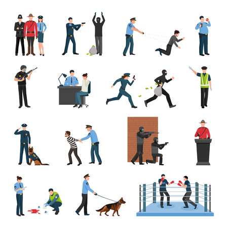 at tact: Police officers tact team training and field work flat icons collection with shooting to stop isolated vector illustration