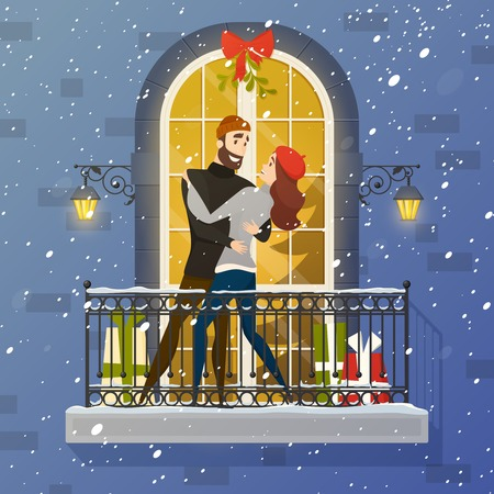 Romantic christmas night fairy tale balcony love scene with fir tree behind  oval muntin window vector illustration Illustration