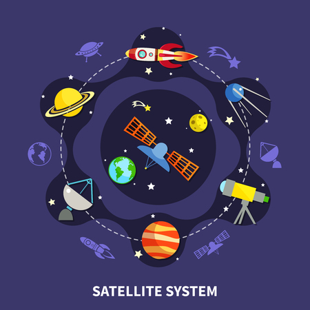 Satellite system concept with space exploration symbols flat vector illustration