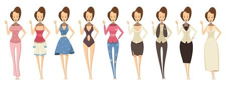 woman pose: Smiling woman in confident pose and in various outfits set in cartoon style isolated vector illustration