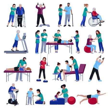Fysiotherapie revalidatie sessies voor mensen met een geïsoleerde hart- en geriatrische en neurologische aandoeningen vlakke pictogrammen collectie vector illustratie