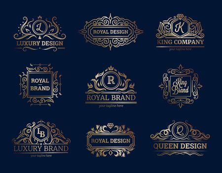 etiquetas de lujo conjunto de diseño con símbolos de primera calidad ilustración del vector aislado plana