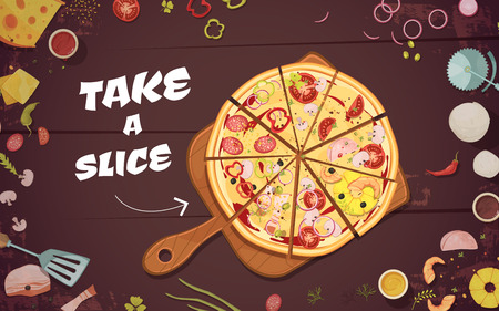 culinary: Advertising of pizza with slices on culinary board and ingredients on wood background cartoon vector illustration