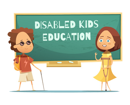 blind girl: Education of disabled kids design with blind boy and girl with crutch near green chalkboard vector illustration Illustration