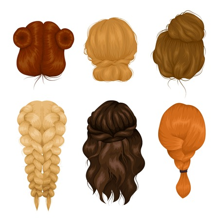 wigs: Female characters wigs 6 various hairstyle back view icons collection with casual hairdo and plait isolated vector illustration