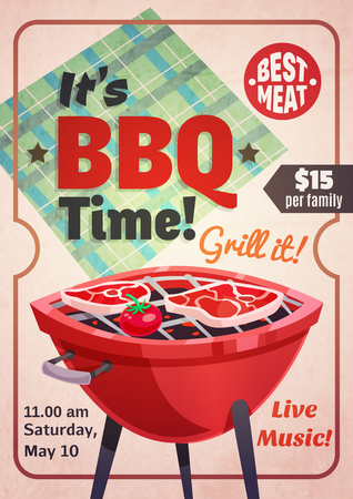 grill meat: Bbq vertical poster with retro barbecue grill tomato and meat with decorative frame and editable text vector illustration