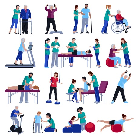 palliative: Physiotherapy rehabilitation sessions for people with cardiovascular geriatric and neurological disorders flat icons collection isolated vector illustration