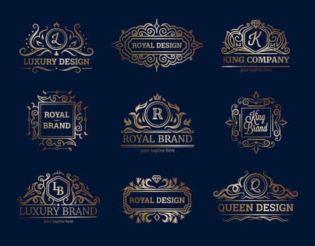 prestige: Luxury labels design set with premium quality symbols flat isolated vector illustration Illustration