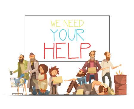 Las personas sin hogar, incluyendo niños que necesitan ayuda y tablero blanco con dibujos animados ilustración vectorial de inscripción y estilos retro Ilustración de vector
