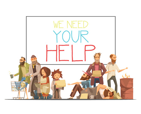 Homeless people including kids needing help and white board with inscription cartoon and retro styles vector illustration Illustration