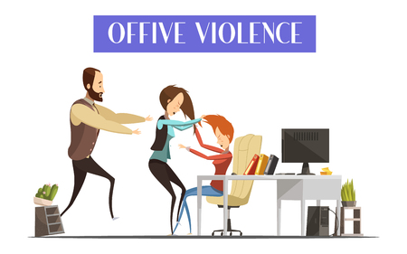 violence in the workplace: Office violence with fight of women in workplace man running toward them and interior elements vector illustration