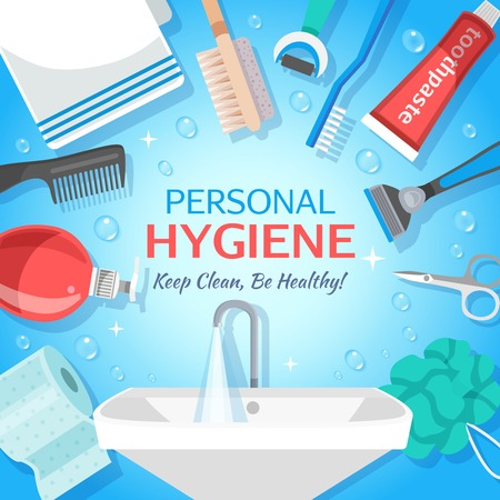 Square hygiene toiletry illustration colorful background with personal care items and hand washing container with text vector illustration