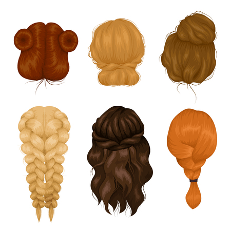 hair back: Female characters wigs 6 various hairstyle back view icons collection with casual hairdo and plait isolated vector illustration