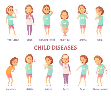 Geïsoleerde tekens set met cartoon meisje angstig voor verschillende kind symptomen van de ziekte met de juiste tekst bijschriften vector illustratie