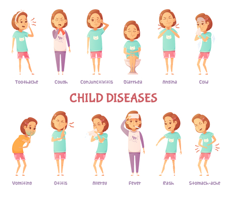 Isolated characters set with cartoon girl anxious for different child disease symptoms with appropriate text captions vector illustration Illustration