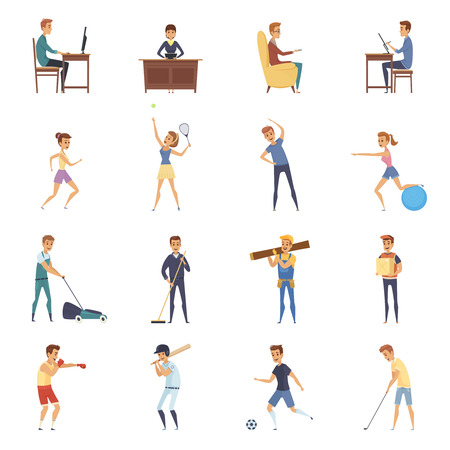 sedentario: La actividad física y los iconos aislado de estilo de vida establecidos con personajes de dibujos animados ilustración vectorial haciendo actividades físicas y deportivas sedentaria Vectores