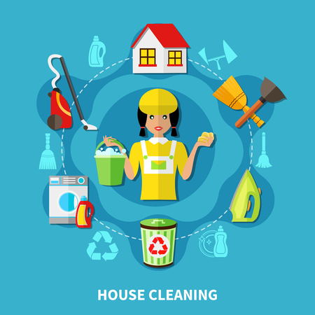 vacuuming: Doodle style background with round composition of charwoman character and flat icons of house cleaning facilities vector illustration Illustration