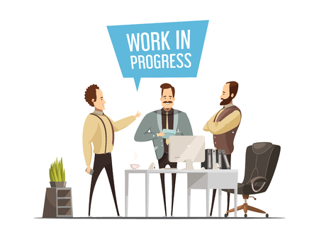 work  office: Work meeting design in cartoon style with standing men around office table during communication vector illustration