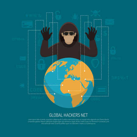 threat: Hackers threat warning flat poster with black criminal man figure behind terrestrial globe. Illustration