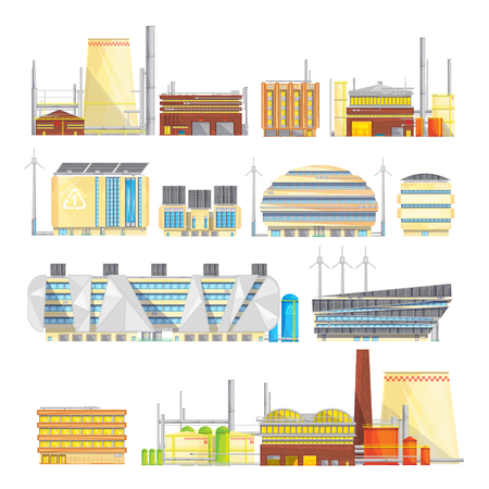 eco energy: Eco friendly industrial facilities sustainable waste disposal with converting it into energy flat icons collection isolated vector illustration