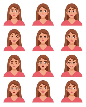 in amazement: Female avatar expressions set with isolated woman images of sorrow anger happiness satisfaction surprise joy amazement vector illustration Illustration