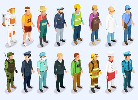 Persona colección isométrica con el hombre de diferentes profesiones y puestos de trabajo ilustración vectorial aislado