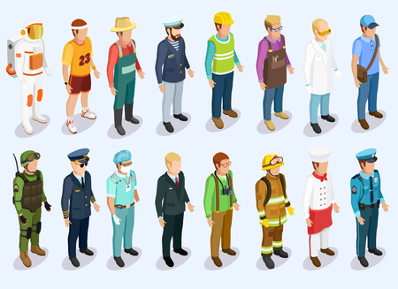 Person isometric collection with man of different professions and jobs isolated vector illustration Vectores