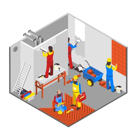 redecoration: Interior redecoration isometric composition with tools equipment and people vector illustration