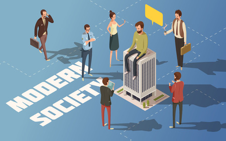 people  male: Male and female people modern urban society isometric vector illustration Illustration