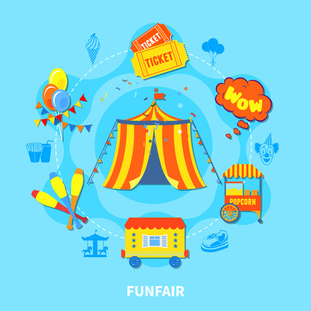 Circus potential layout with attractions and big top isolated vector illustration