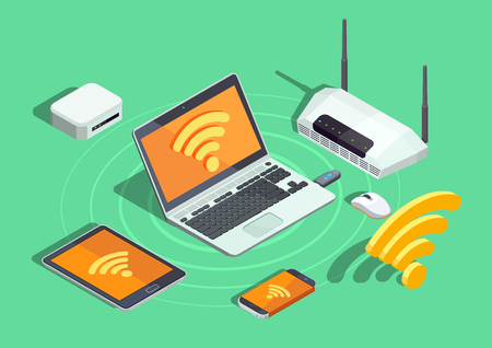 Cartaz isométrica de dispositivos de tecnologia sem fio com impressora portátil smartphone roteador e wifi internet conexão símbolo ilustração vetorial