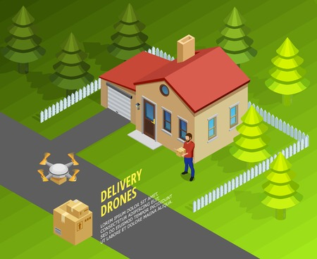 Drones delivery isometric template with logistic futuristic method of post and cargo transportation vector illustration 版權商用圖片 - 70018724