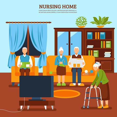 Old people home interior background with text and flat aged characters composition with household furniture houseplants vector illustration Illustration