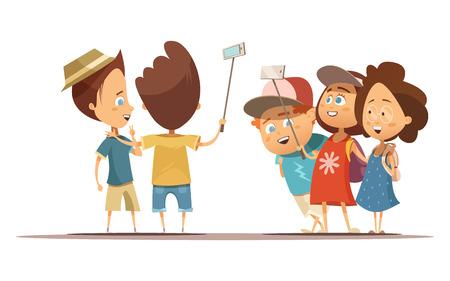 Gelukkige kinderen in de zomer kleding doet zelfportret met behulp monopod cartoon stijl vector illustratie