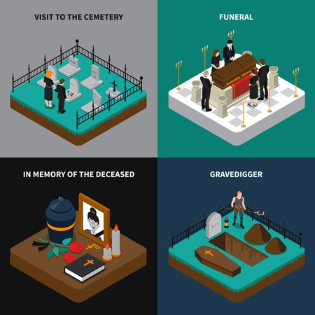 cremation: Funeral isometric concept with ritual services ceremony memorial elements and traditions vector illustration