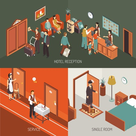 waiting room: Hotel concept isometric banner and icons combination with reception desk service and single room isolated vector illustration