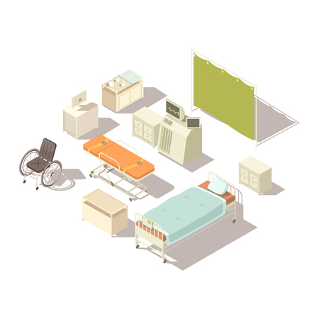 md: Isolated isometric elements of hospital interior with diagnostic equipment and furniture for patients flat vector illustration