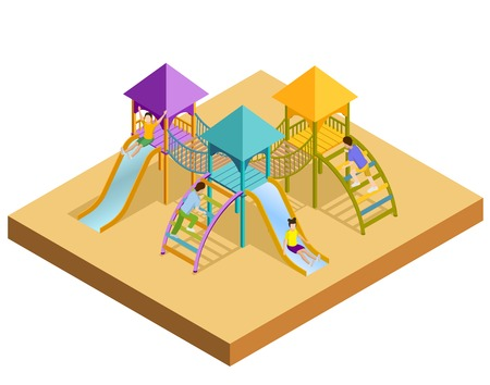 children playground: Colored isometric playground composition little childrens slides with which children are slipping vector illustration