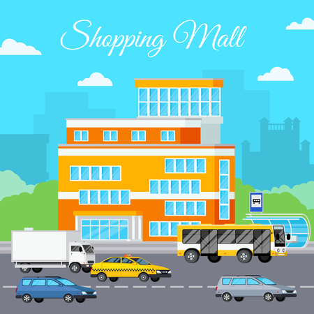 ortseingangsschild: Shopping mall composition with orthogonal storefront sky clouds cityscape silhouettes and various cars on street trafficway vector illustration Illustration