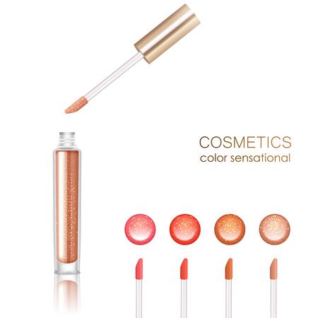 Lip gloss set realistico con cosmetici simboli illustrazione vettoriale isolato