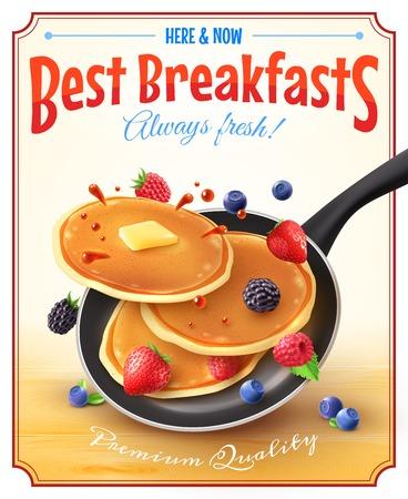 Premium calidad restaurante desayunos estilo vintage anuncio cartel con sartén panqueques bayas y mantequilla ilustración vectorial