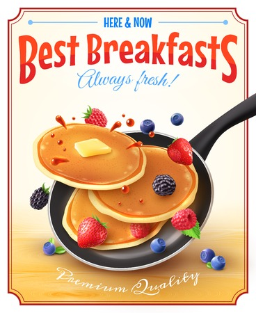 tossing: Premium quality restaurant breakfasts vintage style advertisement poster with frying pan pancakes berries and butter vector illustration Illustration