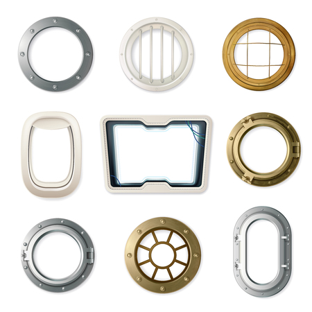 Set of realistic portholes of various shape and color for airplanes ships and submarines isolated vector illustration