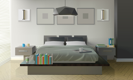 Modern bedroom interior design with bed books and cups realistic vector illustration